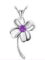 Women's Silver Four-Leaf Clover Necklace With Rhinestone