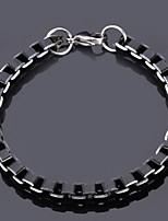 u7® fresco cadenas de caja negra calidad pulsera de la aleación de aluminio de la joyería 6mm