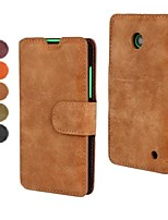 Retro Scrub PU Leather Full Body Cover with Stand and Card Slot for Nokia Lumia 630(Assorted Color)