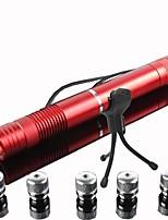 lt-G008 concentrer papier de brûlure réglable coupe pointeur laser bleu avec cinq transformer têtes (4mw, 473nm, 2x16340)