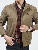 Men's Casual Work Plus Sizes Pure Long Sleeve Regular Jacket (Polyester)