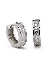 S925 Fine Silver AAA Zircon Hoop Earrings for Men,Fine Jewelry