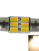 31mm (sv8.5-8) 3w 6x5730smd 180-220lm 3000-3500K warm wit licht led lamp voor auto leeslamp (ac12-16v)
