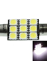 41MM(SV8.5-8) 4.5W 9X5060SMD 280-360LM 6500-7500K White Light for Car Dome Lamp(DC12-16V)