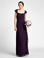 Floor-length Chiffon Bridesmaid Dress - Grape Plus Sizes / Petite Sheath/Column Scalloped