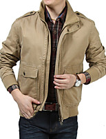 Men's Casual Work Pure Long Sleeve Regular Jacket (Polyester)