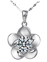 Women's Silver Floral Necklace With Rhinestone