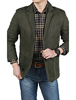 Men's Casual Plus Sizes Pure Long Sleeve Regular Jacket (Polyester)
