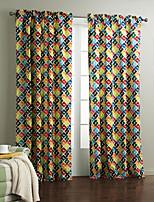 Um Painel Tratamento janela Designer , Xadrez Sala de Estar Poliéster Material Cortinas cortinas Decoração para casa For Janela