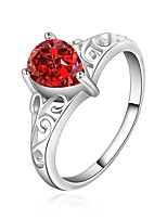 Fashion Drop Shape Silver Plating Red Zircon With Hollow Ring(Red,White)(1Pc)