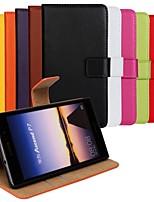 cor sólida de couro genuíno capa de corpo inteiro com cartão e ficar caso para p7 huaweiascend (cores sortidas)