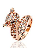European Style Fox Shape Round Shape Silver Plating With Diamond Ring(2 color)(1Pc)
