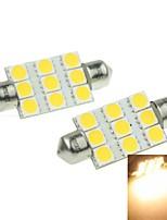 41mm (SV8.5-8) 3w 9x5054smd 160-180lm 3000-3500K luz blanca cálida bombilla LED de 2pcs luz de placa del coche (DC12-16V)