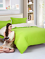 Green/White Polyester King Duvet Cover Sets
