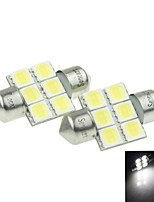 31MM(SV8.5-8)3W 6X 5054SMD 180-220LM 6000-6500K  White Light LED Bulb for Car Reading  Lamp 1 Pair (DC12-16V)
