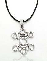 Men's Zinc Alloy Porous Black Rope Necklace  Pendant