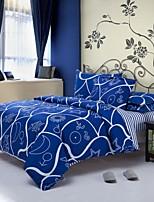 Blue/White Polyester King Duvet Cover Sets