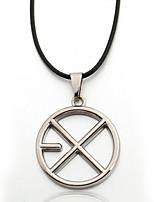 Men's Zinc Alloy Circle Black Rope Necklace  Pendant