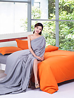 Grey/Orange Polyester King Duvet Cover Sets