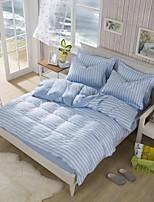 White/Light Blue Polyester King Duvet Cover Sets