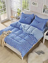 Blue/White Polyester King Duvet Cover Sets