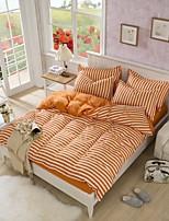 White/Orange Polyester King Duvet Cover Sets