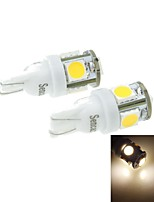 T10(149 168 W5W)2.5W 5X5054SMD 160-180LM 3000-3500K Warm White Light for Car Lndicator (DC12-16V)