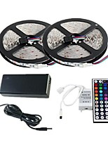 Waterproof 2×5M 300X3528 SMD RGB LED Strip Light and 44Key Remote Controller and 6A US Power Supply (AC110-240V)