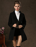 Women's Vintage/Casual/Party/Work Stand Collar Thick Long Sleeve Long Woolen Overcoat (Cashmere/Polyester/Wool Blends)