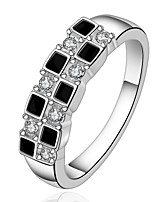 Simple Geometric Silver Plated Zircon Ring (Black And White)(1Pc)