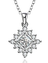 Cremation Jewelry 925 sterling silver Geometry Pave Zircon Pendant Necklace for Women