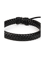 Comfortable Adjustable Men's Leather Cool Hard Bracelet All Black Braided Leather(1 Piece)