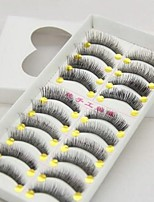 10Pcs Black Pure Manual Eye Tail Elongate Subsection Cotton Plastic Stalks False Eyelashs