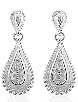 Concise Silver Plated Clear Crystal Waterdrop Earrings for Party Women Jewelry Accessiories