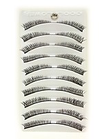 10Pcs Black Fiber Crossed False Eyelashes