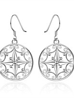 Concise Silver Plated Hollow Pattern Stars Round Drop Earrings for Party Women Jewelry Accessiories