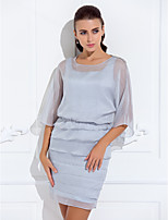 Women's Wrap Capelets 3/4-Length Sleeve Chiffon Silver Wedding / Party/Evening Scoop Beading Pullover
