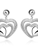 Concise Silver Plated Hollow Pattern Heart Shape Drop Earrings for Party Women Jewelry Accessiories
