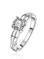 Fashion Round Shape Silver Plating Simple With Zircon Ring(Silver)(1Pc)