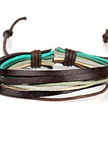 Multi Layers Men's Leather Wrap Bracelet With Multicolor Rope (1 Piece)