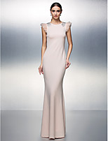 Formal Evening Dress - Blushing Pink Sheath/Column Jewel Floor-length Jersey