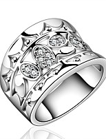 European Style Round Silver Plated Copper Zircon Ring(Silver)(1Pc)