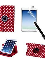 Polka Dot PU Leather Full Body Case with Touch Pen and Protective Film 2 Pcs for iPad Air 2/iPad 6