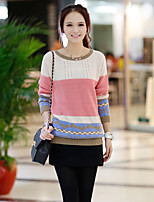 Women's Patchwork / Color Block Pink Cardigan , Casual Long Sleeve