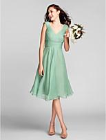 Brautjungfernkleid Chiffon - Etui-Linie - knielang - V-Ausschnitt Übergröße