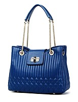 CLUCI Women's Milled Grain Leather Thick Bottom Durable Chain Shoulder Tote