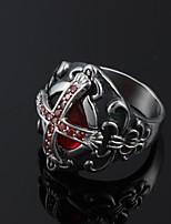 Cool Inlay Zircon Ruby Cross Stainless Steel Men's Ring Jewelry