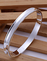 Fashion Round Shape Silver Plated Copper Bangle Bracelets For Mens(Sliver)(1Pc)