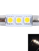 gc® 39mm 0.6W 50lm 3000k 3x5050 SMD LED blanc chaud pour la voiture lecture / plaque d'immatriculation / lampe à la lumière de la porte (dc 12v)