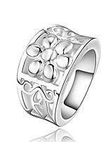 Fashion Flower Shape Silver Plating Simple European Style With Zircon Ring(Silver)(1Pc)
